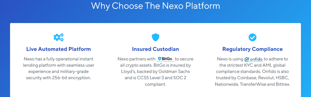 Reasons for choosing Nexo